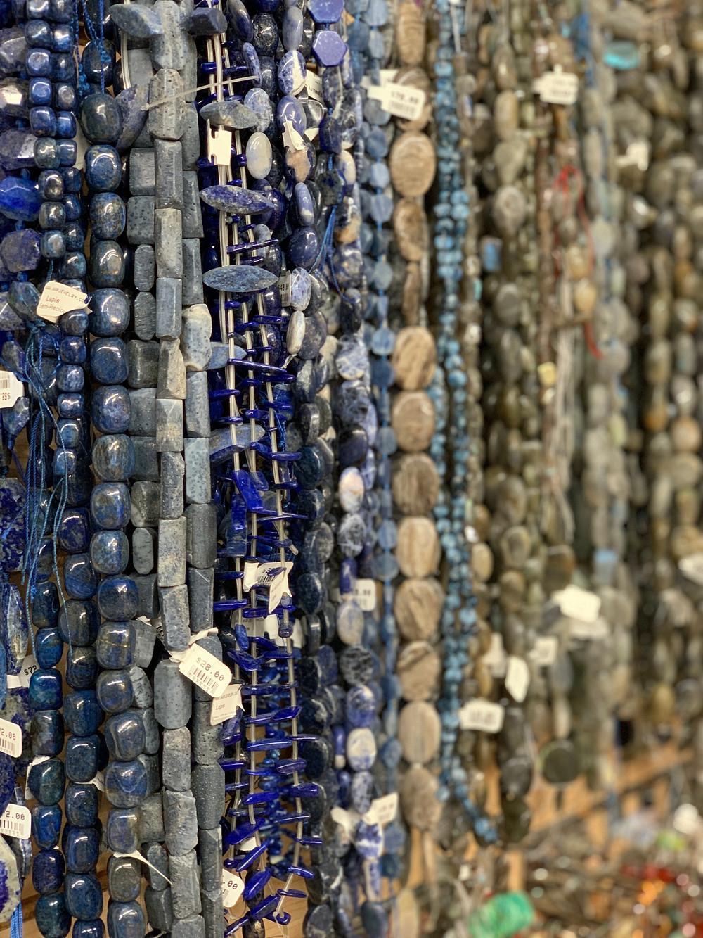 semi-precious beads, lapis