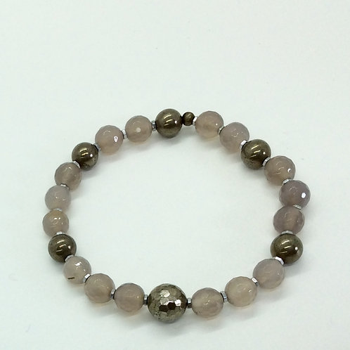 Grey Agate and Pyrite bracelet A208