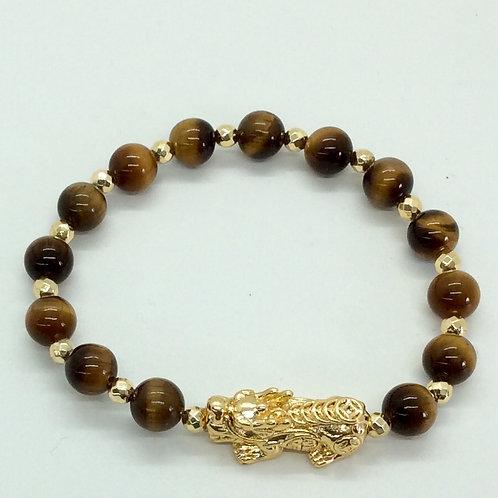 Tiger's eye and dragon bracelet A204