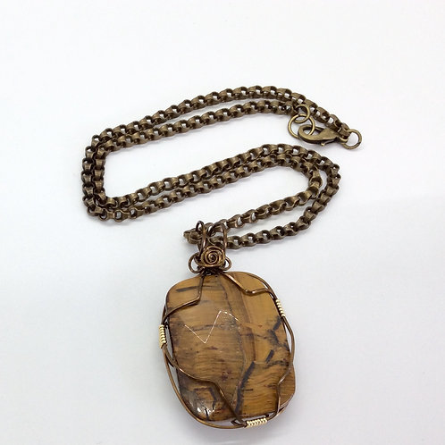 Tiger's eye wrapped necklace N201
