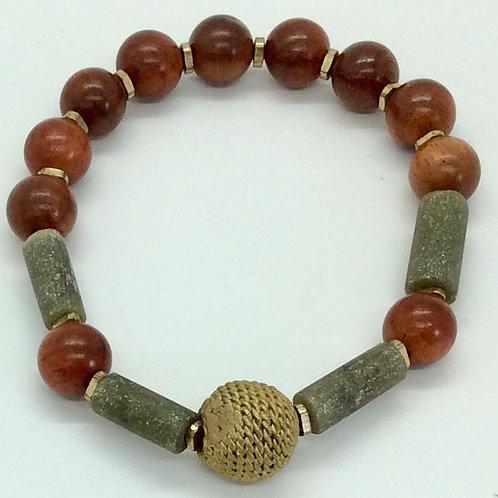 Jade and wood bracelet A203