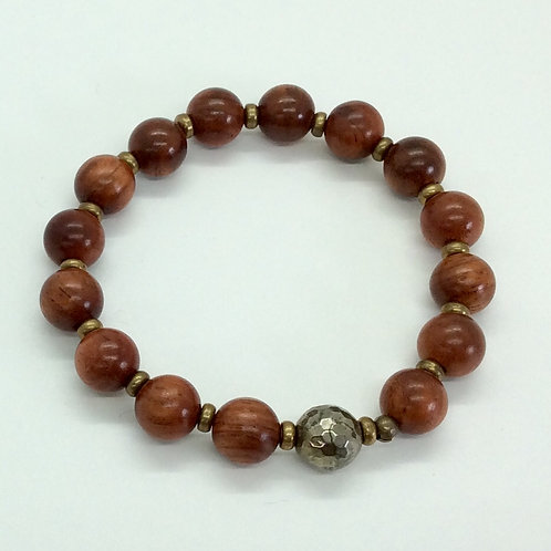 Wood and Pyrite bracelet A207