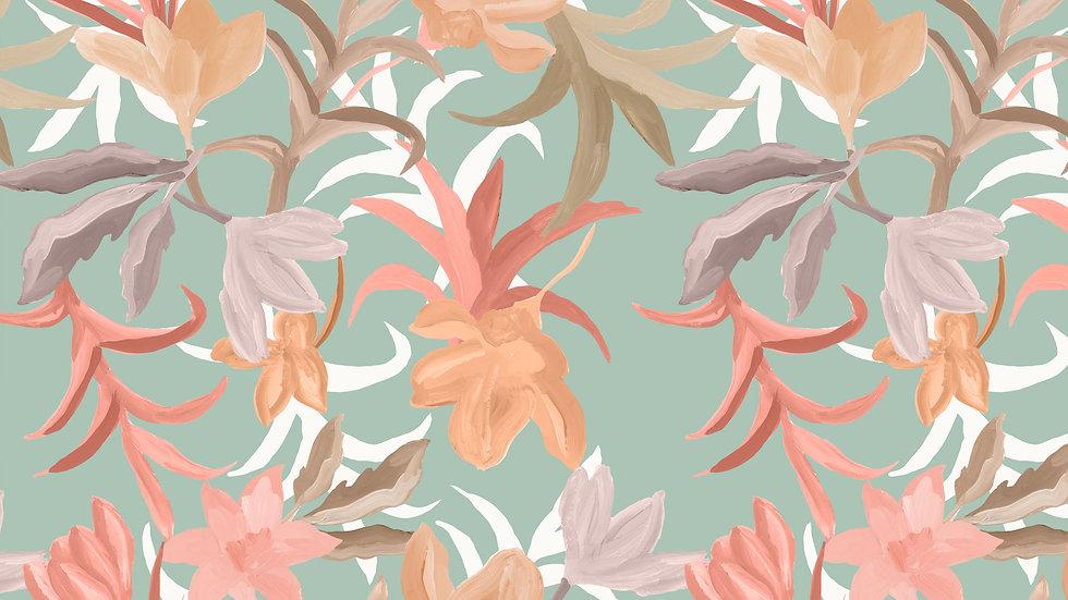 Romantic Painted Tropical Floral
