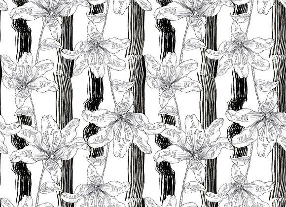 EM175 Textured Stripe Illustrated Floral