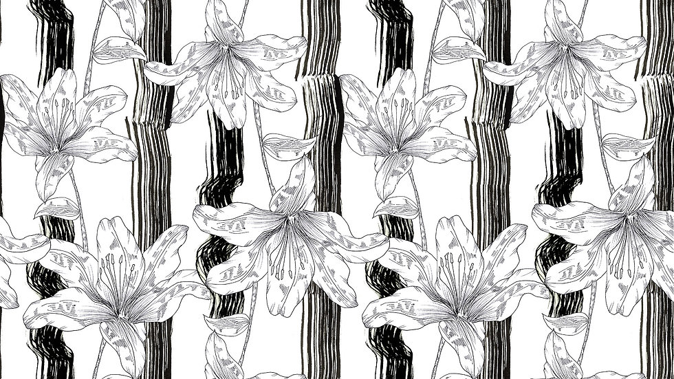 Textured Stripe Illustrated Floral