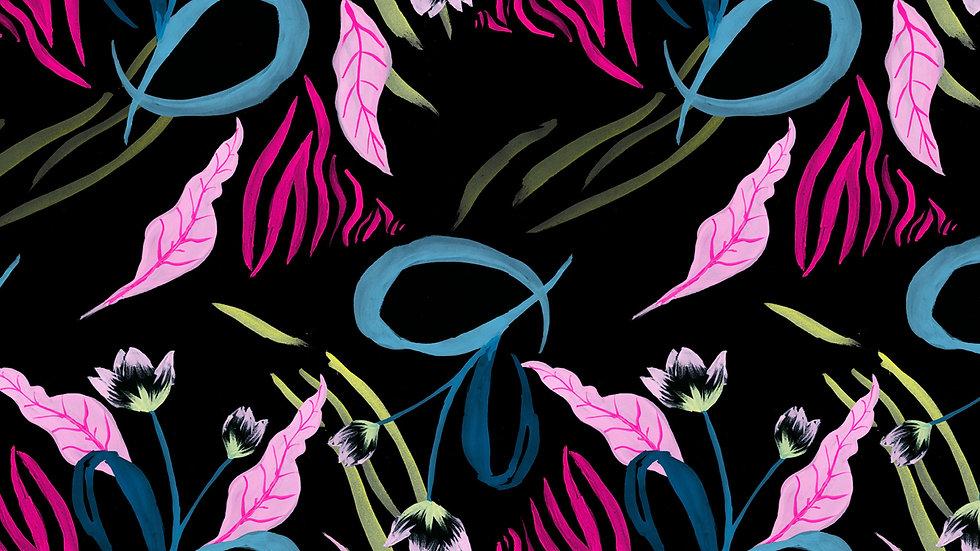 Electric Jungle - Neon Zebra Floral Tropical Print