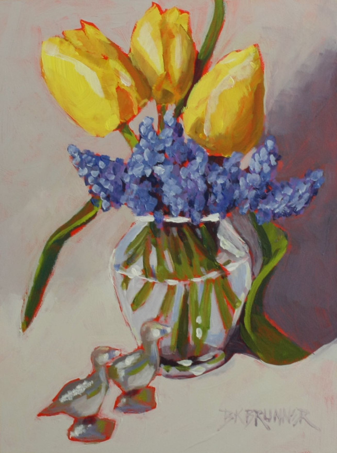 Yellow Tulips and Grape Hyacinths_1