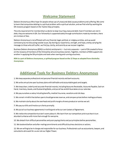 Additional Tools for Business Debtors An