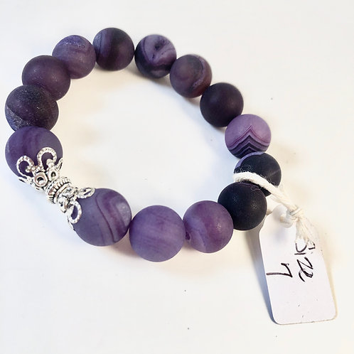 Purple Matte Natural Stone Bracelet - Size 7