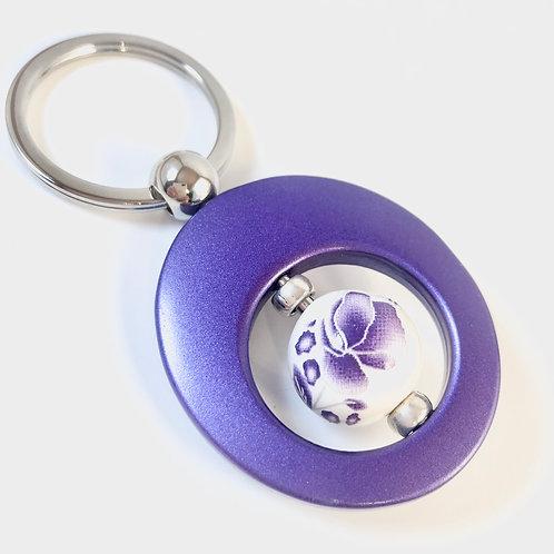 White/Purple Flowered Beaded Purple Key Chain