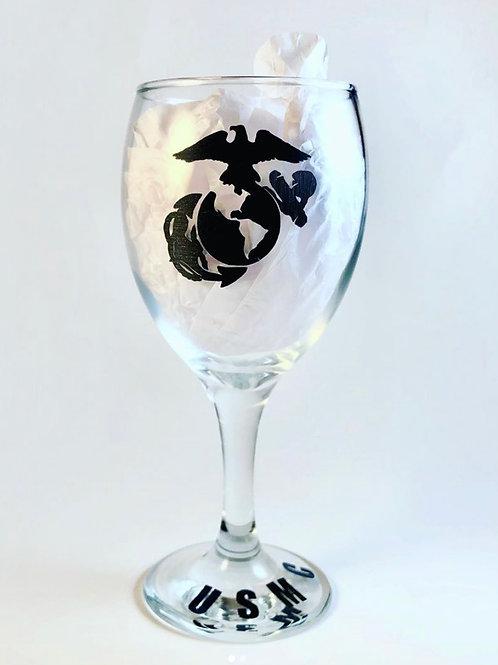 Military Themed Wine Glass (USMC)
