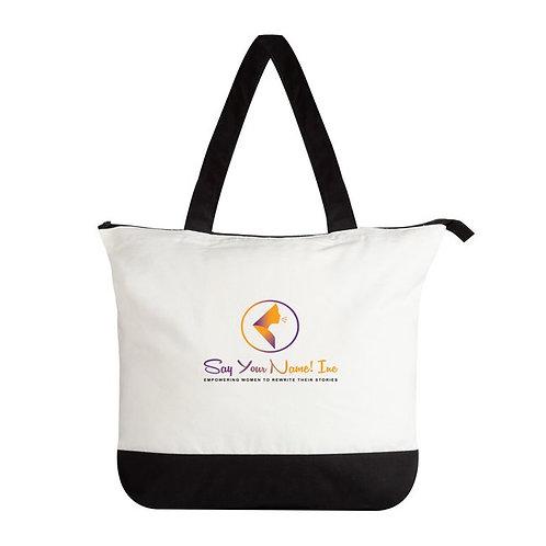 SYN Premium Tote Bags-White/Black -Zippered closure