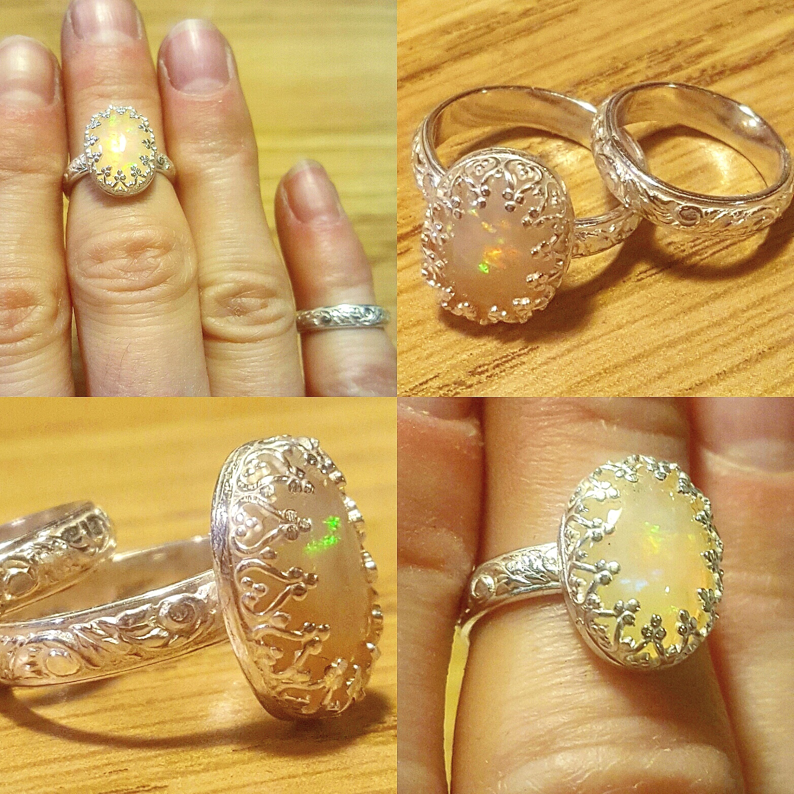 Opal & Sterling Midi Ring Set