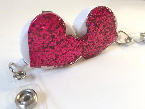 Single - Fuchsia Pink Glitter Heart Retractable ID Badge Holder