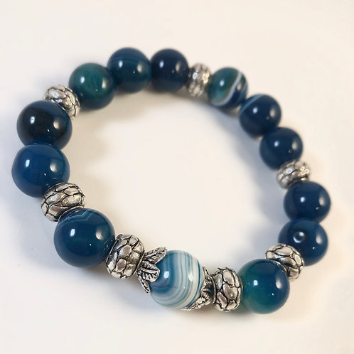 Blue Lace Agate Beaded Bracelet - Size 8