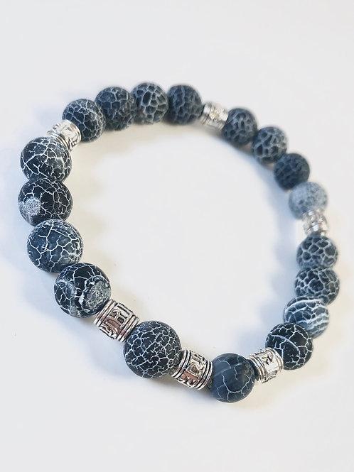 Cracked Blue Agate Beaded Bracelet - Size 8
