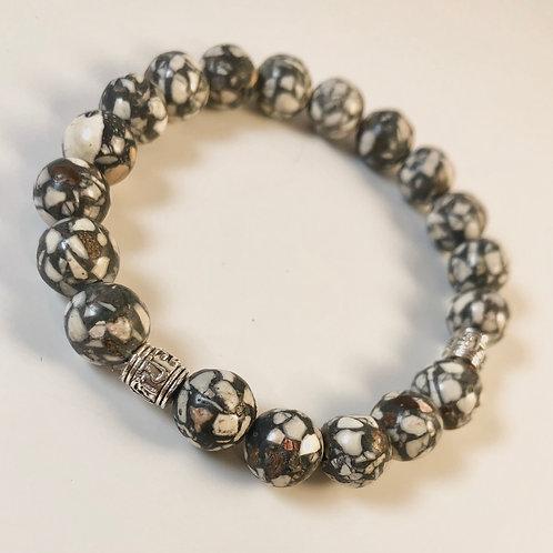 Cracked Agate Beaded Bracelet - Size 7.5