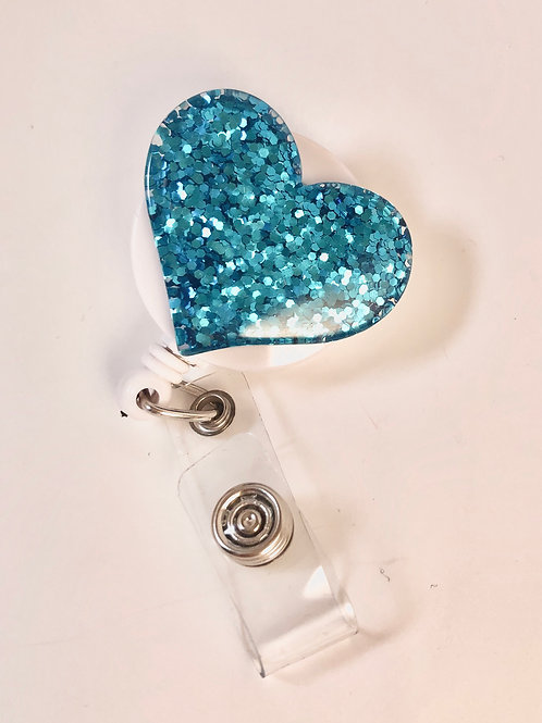 Turquoise Glitter Heart Retractable ID Badge Holder