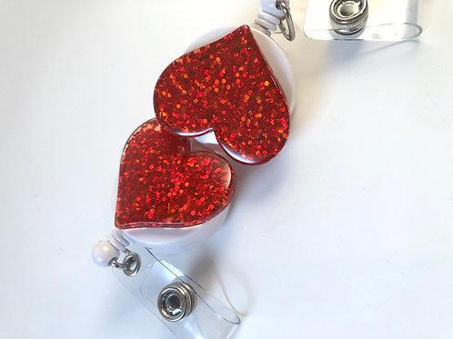 Single - Red Glitter Heart Retractable ID Badge Holder