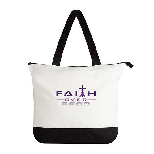 FOF Premium Tote Bags-White/Black-Zippered closure