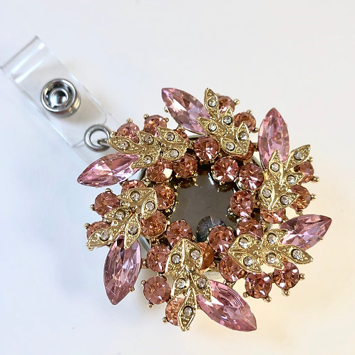 Pink and Gold Crystal Retractable ID Badge Holder