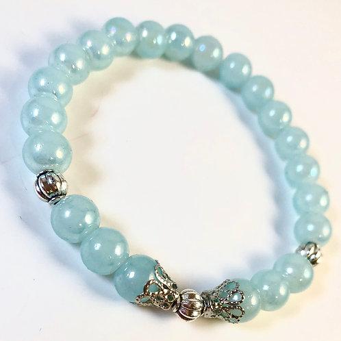 Light Blue Stone Beaded Bracelet - Size 7.5