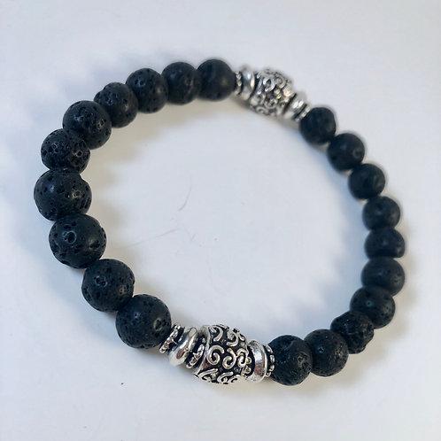 Black Lava and Unique Silver Tone Aksent Bracelet - Size 7.5