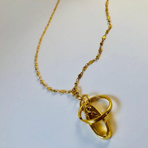 Gold Tone Lanyard with Key Ring