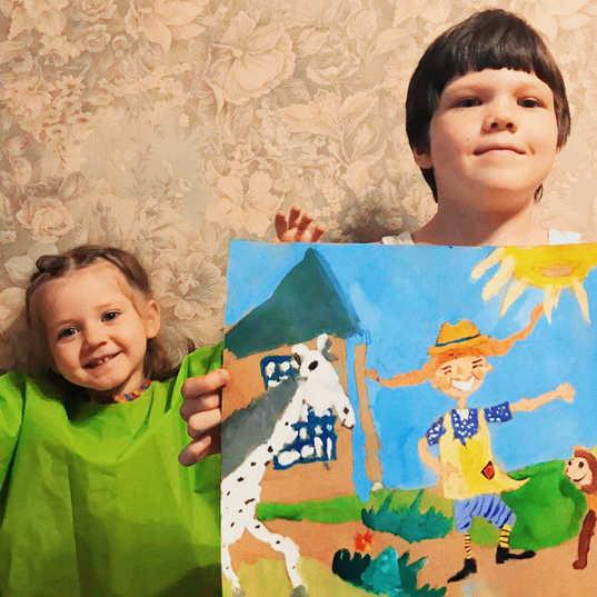 Кирилл нарисовал Пеппи по онлайн уроку