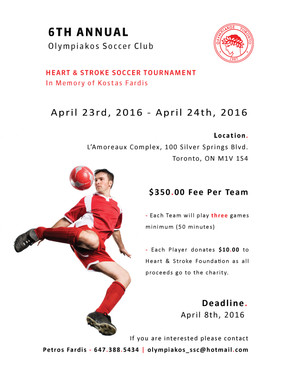 6th Annual Olympiakos Soccer Tournament Heart & Stroke Soccer Tournament