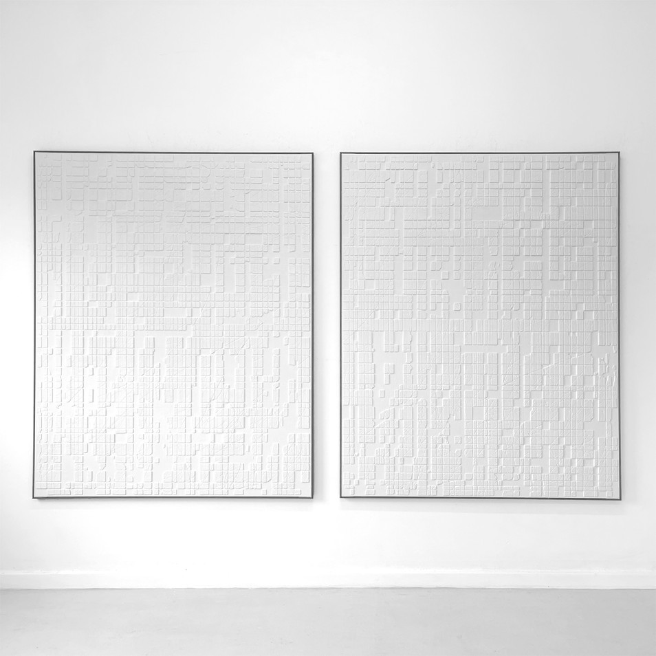 White Conjunctions 2021 - Sand - Cement - Plaster - Paint on Canvas