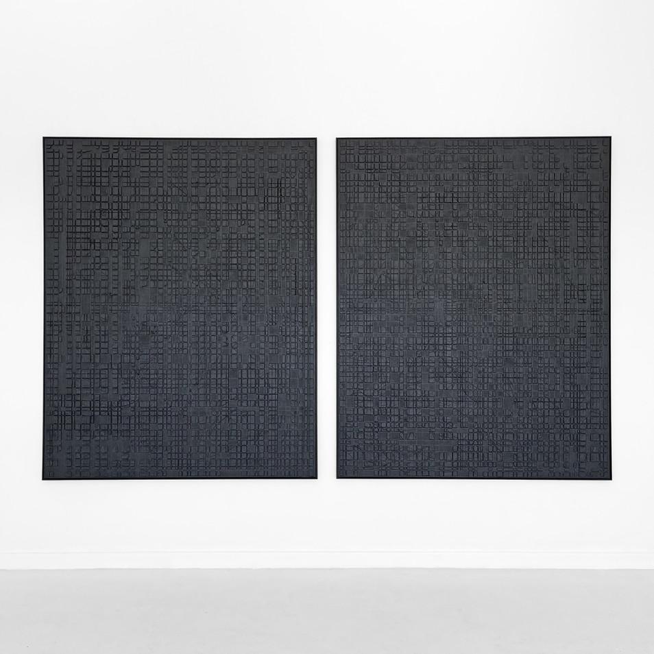 Black Conjunctions 2021 - Sand - Cement - Plaster - Paint on Canvas