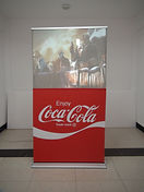 Half height roll up rear projection banner