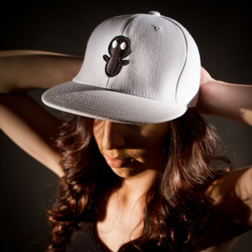 Flex Fit White Hat with Black Logo
