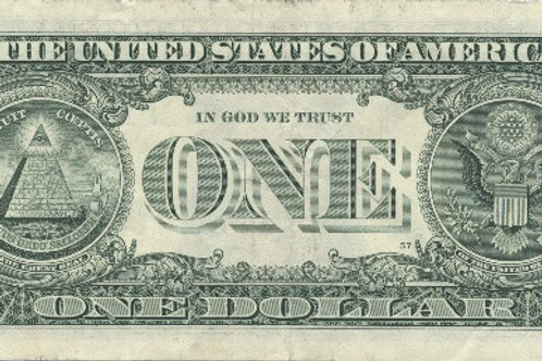 Fine Art Paper One Dollar Bill - reverse