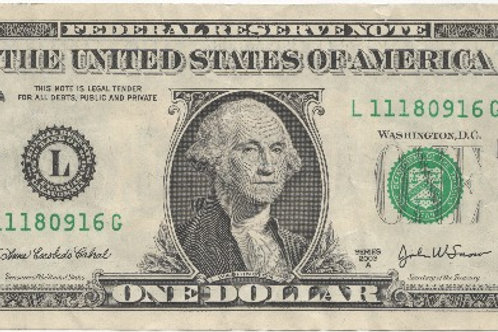 Fine Art Paper One Dollar Bill - obverse