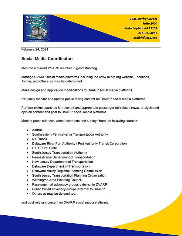 Social Media Coordinator job description