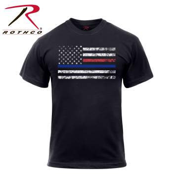 Blue Line & Red Line Flag T-Shirt
