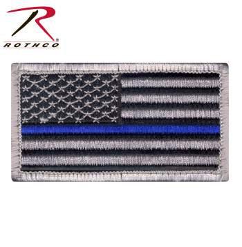 Blue Line American Flag Patches w/HookBack