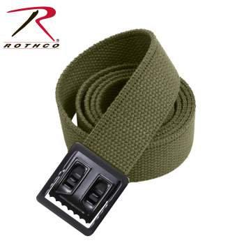 Military Web Belt w/Black Open Face Buckle