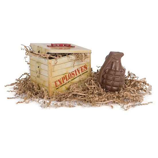 Chocolate Grenade in Explosive Wooden Crate Tin