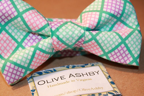 Easter Plaid boys pre-tied and mens self-tie bowtie, suspenders, & pocket square