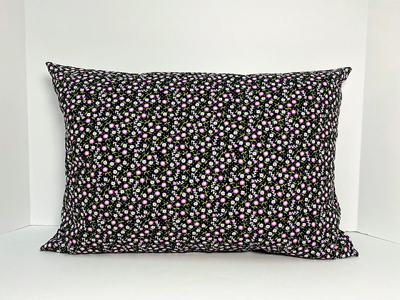 Dainty Pink Floral (Black Background) Heart Surgery Recovey Pillow andCase