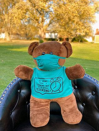 Cardiac Bear - Scrubs - MY HEART TOOK A LICKING BUT IT'S STILL TICKING! - Black