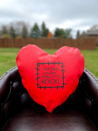 PATCHED UP AND READY TO ROCK! - Healing Hearts Pillow - Black Imprint