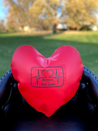 PERSEVERE. HEAL. GROW.  - Healing Hearts Pillow -  Black Imprint