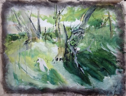 Shirley Anne Owen  Yr Hen Goedwig 6  mixed media on canvas