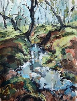 Shirley Anne Owen  Yr Hen Goedwig 28  mixed media on watercolour paper  55 x 75cm