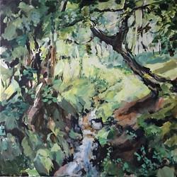 Shirley Anne Owen  Yr Hen Goedwig 15 mixed media on canvas  60 x 60cm Sold