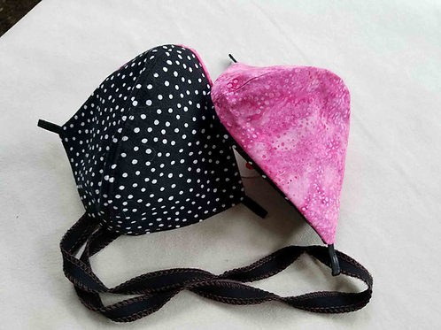 Black Dots On Pink Batik
